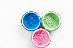 Multicolored professional powder eye-shadows on white background Royalty Free Stock Photo