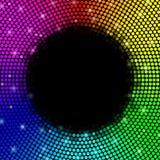 Multicolored puntenachtergrond, rond kader Vector Stock Afbeelding