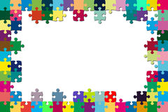 Multicolored puzzle frame Stock Photo