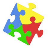 Multicolored Puzzle Piece Symbolizing Autism Awareness. Isolated On White Background royalty free stock photo