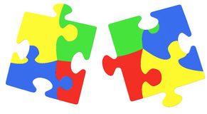 Multicolored Puzzle Pieces Symbolizing Autism Awareness. Isolated On White Background royalty free stock photo