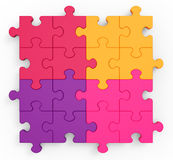 Multicolored Puzzle Square Showing Unity Royalty Free Stock Image