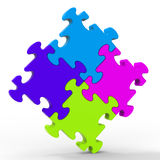 Multicolored Puzzle Square Shows Unity Royalty Free Stock Photography