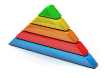 Multicolored pyramid chart 3d Stock Images