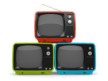 Multicolored pyramid of retro TV Royalty Free Stock Photography