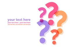 Multicolored question marks horizontal template Royalty Free Stock Photo