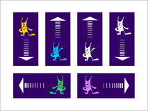 Multicolored rabbits and arrows on pointers. Set of rectangle pointers. Funny rabbits attract attention to rectangle-pointers with arrows Royalty Free Stock Photography