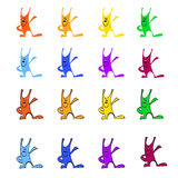 Multicolored rabbits with black stroke. Set of funny multicolored rabbits with  black stroke and without it Royalty Free Stock Photo