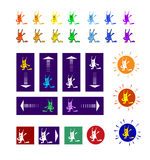 Multicolored rabbits in pointers. Set of  with multicolored rabbits. Funny rabbits attract attention  to rectangle-pointer and circle-pointer Royalty Free Stock Photography