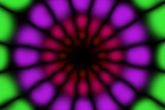 Multicolored radial circle dark pattern. Green, violet, red and black radial circle pattern stock image