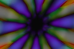 Multicolored radial circle dark pattern. Violet, green, blue, yellow and black radial circle pattern royalty free stock photography