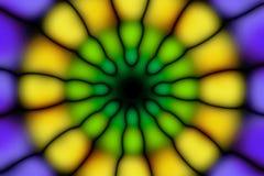 Multicolored radial circle dark pattern. Violet, green, yellow and black radial circle pattern stock photos