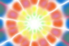 Multicolored radial circle light pattern. Blue, orange, yellow, green and white radial circle pattern stock photo
