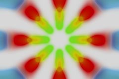 Multicolored radial circle light pattern. Red, green, blue, yellow and white radial circle pattern royalty free stock photography