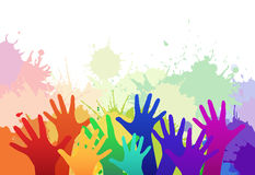 Multicolored rainbow children's hands. On background of watercolor splashes. Vector element for your creativity Royalty Free Stock Photo