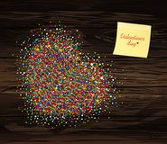 Multicolored rainbow confetti in the shape of a heart. Empty Yel. Low sheet of paper for notes. Sticker.Vector on wooden background. Love. Postcard or invitation Stock Photography
