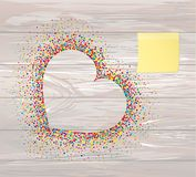 Multicolored rainbow confetti in the shape of a heart. Empty Yel. Low sheet of paper for notes. Sticker.Vector on wooden background. Love. Postcard or invitation Stock Images