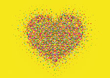 Multicolored rainbow confetti in the shape of a heart. Vector. Royalty Free Stock Images