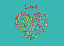 Multicolored rainbow confetti in the shape of a heart. Vector. Royalty Free Stock Photography