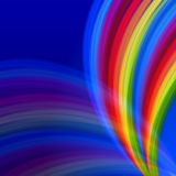 Multicolored rainbow lines fountain over blue Stock Images