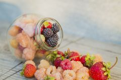 Multicolored raspberries in a glass jar with strawberries on background. Black, red, yellow raspberries in a glass jar with strawberries on a old wooden Stock Photos