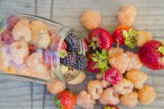 Multicolored raspberries in a glass jar with strawberries on background Royalty Free Stock Photo