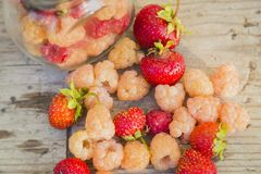 Multicolored raspberries in a glass jar with strawberries on background Stock Photography