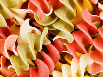 Multicolored Raw Spiral Pasta Stock Image