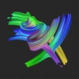 Multicolored realistische olie van de voorraad de vectorillustratie, acrylverf Zure kleuren Borstelslag op transparante geruit wo Stock Afbeeldingen