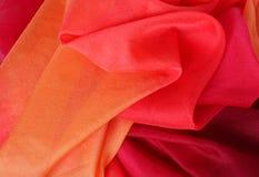 Multicolored Red Orange Silk Fabric Stock Images