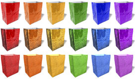 Multicolored, reflecting, glossy paper shopping bags, singles Royalty Free Stock Photo