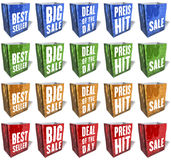 Multicolored, reflecting shopping bags, sales slogans, keywords, print, set 3 Royalty Free Stock Photography