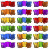 Multicolored, reflecting shopping bags, triples Royalty Free Stock Image