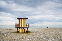 Multicolored rescue booth. On a sea shore in Batumi stock image