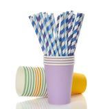Multicolored Retro Straws In A Paper Cup Stock Photos