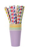 Multicolored retro straws in a paper cup Stock Photography