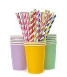 Multicolored retro straws in a paper cup Stock Photo