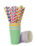 Multicolored retro straws in a paper cup Royalty Free Stock Photos