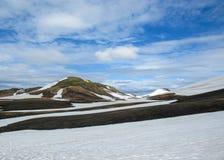 Multicolored rhyolite mountains in active geothermal area Jokultungur, Laugavegur trail, near Landmannalaugar, Fjallabak Nature stock image