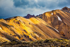 Multicolored rhyolite mountains of Iceland Stock Images