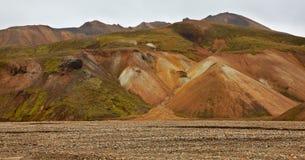 Multicolored rhyolite mountains in Landmannalaugar Stock Image