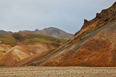 Multicolored rhyolite mountains in Landmannalaugar Royalty Free Stock Image