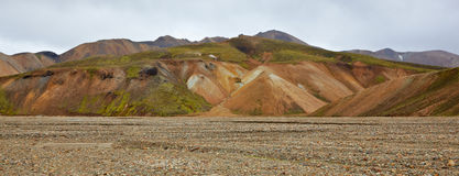Multicolored rhyolite mountains in Landmannalaugar Royalty Free Stock Images