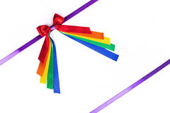 Multicolored ribbon bow on white Royalty Free Stock Photos