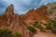 Multicolored rock formations near the Cottonwood Canyon Road Uta Stock Images