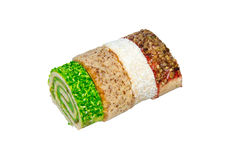 Multicolored roll. On a light background. Four colors Royalty Free Stock Images
