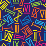 Multicolored roman numerals seamless pattern Royalty Free Stock Images