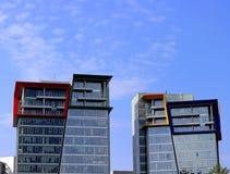 Multicolored roof of a skyscraper stock photos