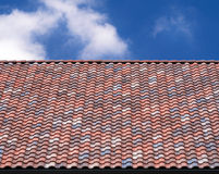Multicolored roof tile background Stock Photo