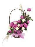 Multicolored roses in a basket Royalty Free Stock Images